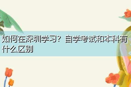 如何在深圳学习?自学考试和本科有什么区别