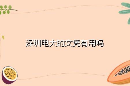 深圳电大的文凭有用吗