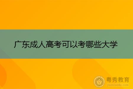 广东成人高考可以考哪些大学?