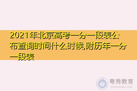 2021年北京高考一分一段公布查询时间是什么时候(附历年排名表)