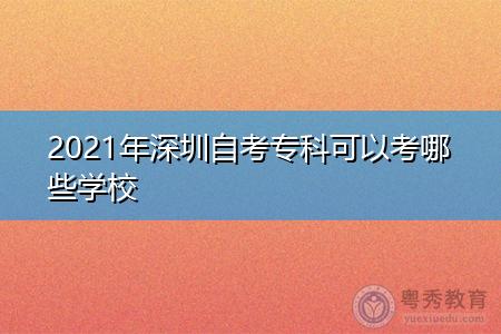2021年深圳自考专科可以考哪些学校