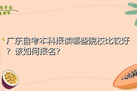 广东自考本科报读哪些院校比较好,该如何报名?