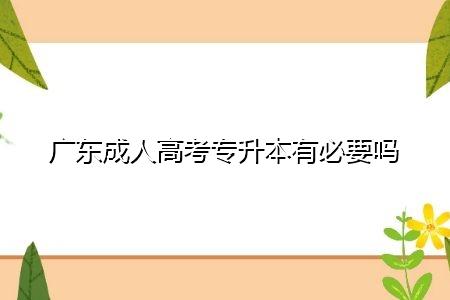 广东成人高考专升本有必要吗