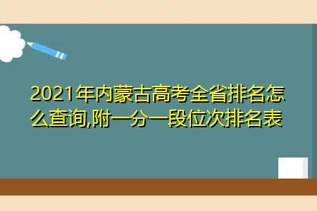 2021年内蒙古高考成绩全省排名怎么查询(附一分一段位次排名汇总表)
