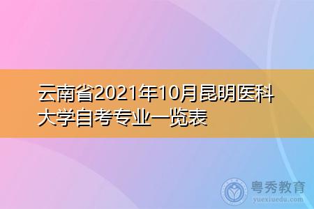 2021年10月云南省昆明医科大学自考专业汇总表