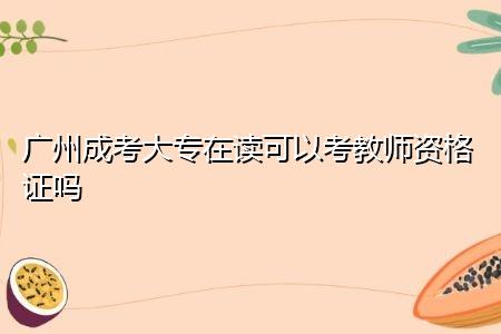 广州成考大专在读可以考教师资格证吗,考生报考要具备什么条件?