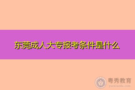 东莞成人大专报考条件是什么,被录取后怎么学习?