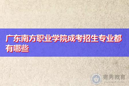 广东南方职业学院成考招生专业都有哪些?