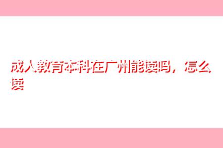 成人教育本科在广州能报读吗,如何选择适合自己的方式?