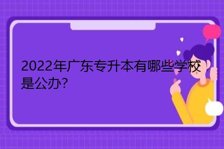 2022年广东专升本有哪些学校是公办?