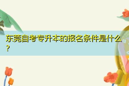 什么是东莞自考专升本,有哪些报名条件?