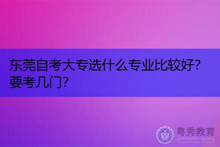 东莞自考大专选什么专业好,考试科目有几门?